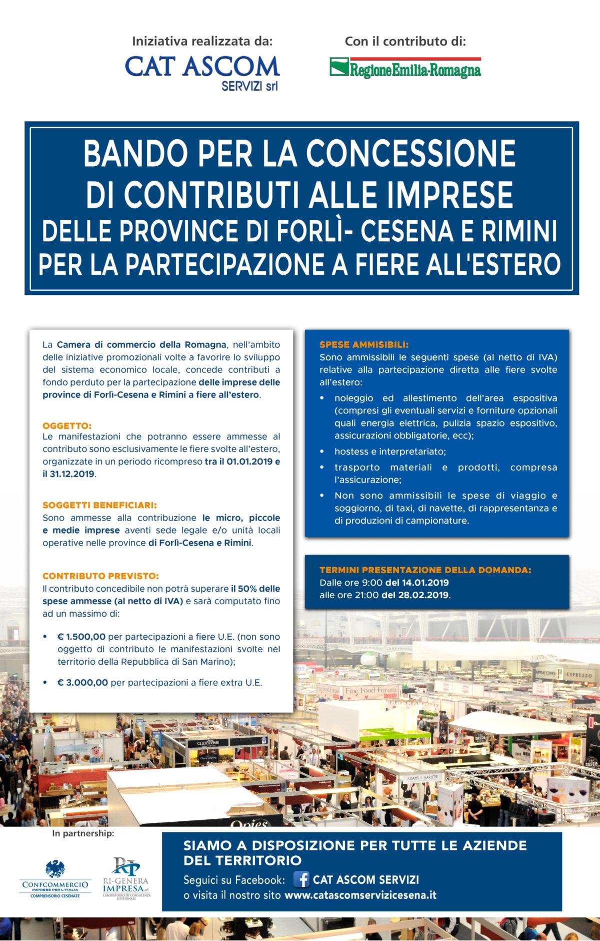 Bando per la concessione  di contributi alle imprese  delle province di forlì- cesena e rimini per la partecipazione a fiere all'estero