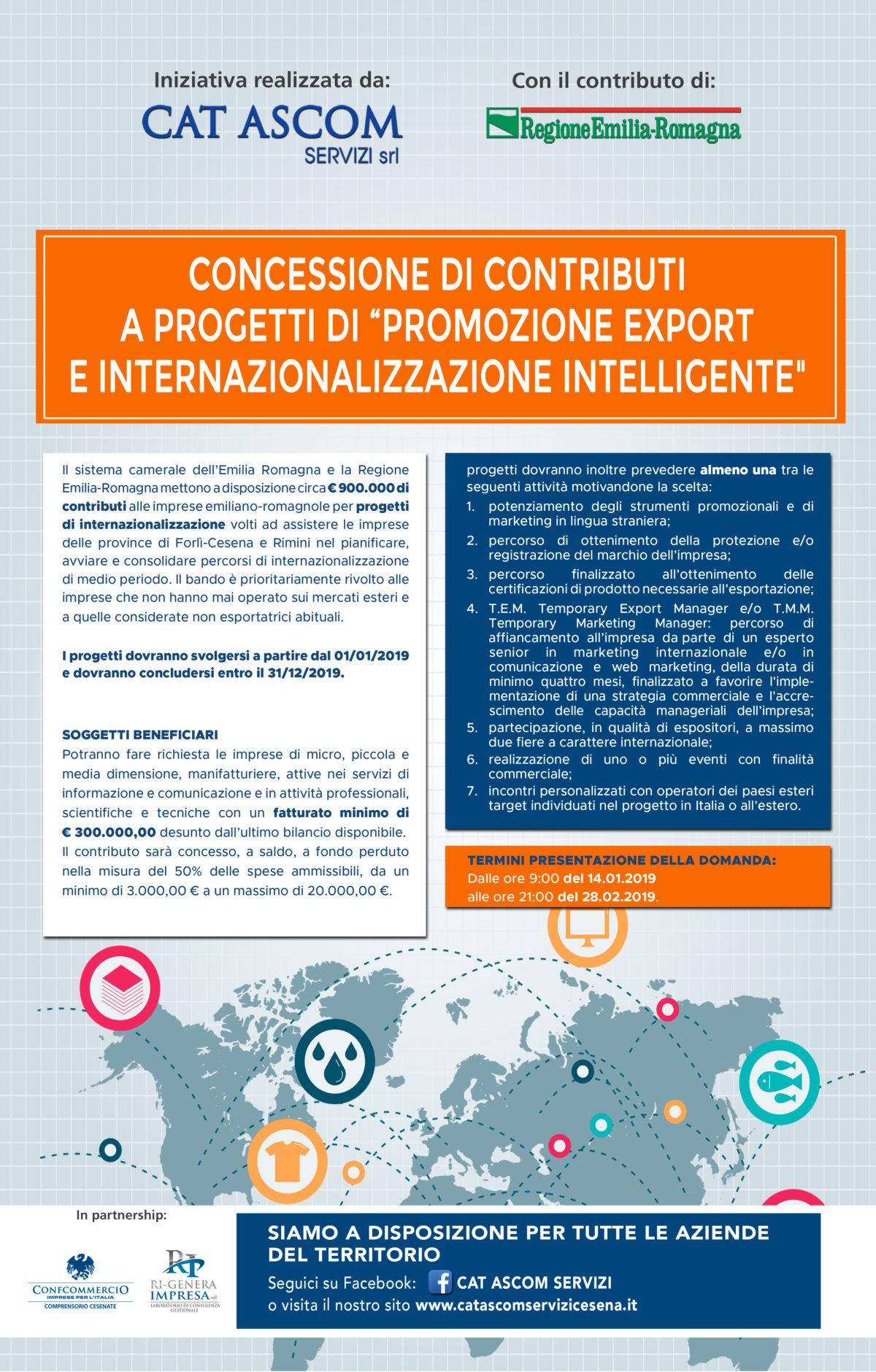 """Concessione di contributi  a progetti di """"promozione export  e internazionalizzazione intelligente"""""""