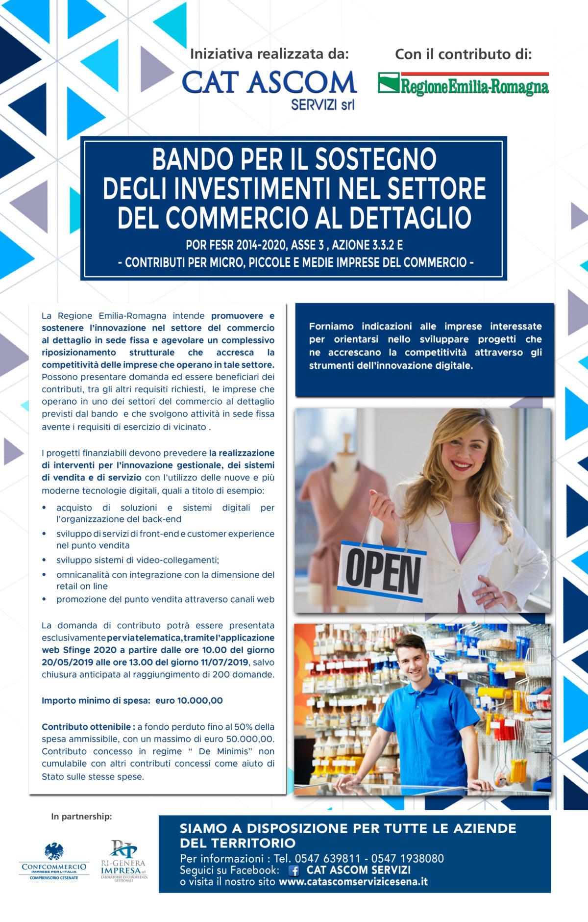 Bando per il sostegno  degli investimenti nel settore  del commercio al dettaglio