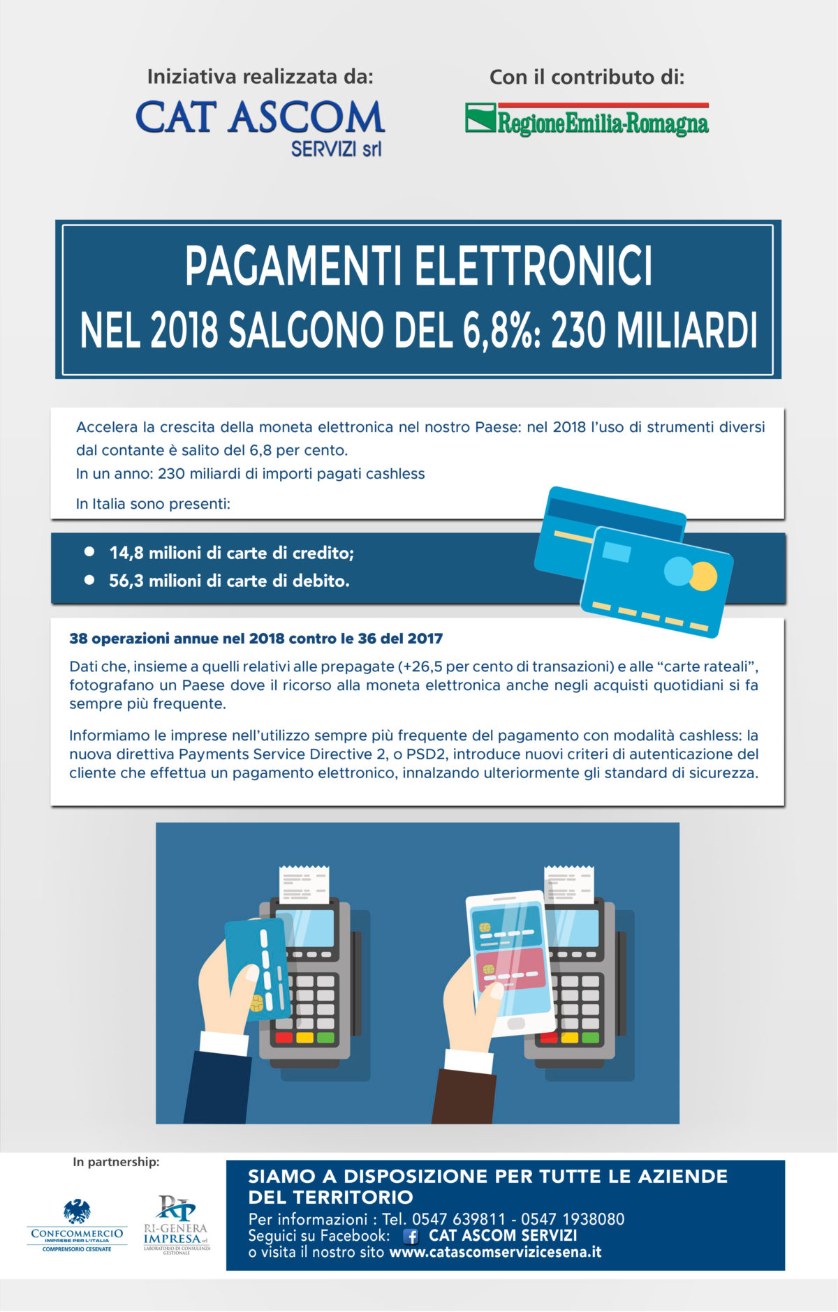 PAGAMENTI ELETTRONICI NEL 2018 SALGONO DEL 6,8%: 230 MILIARDI