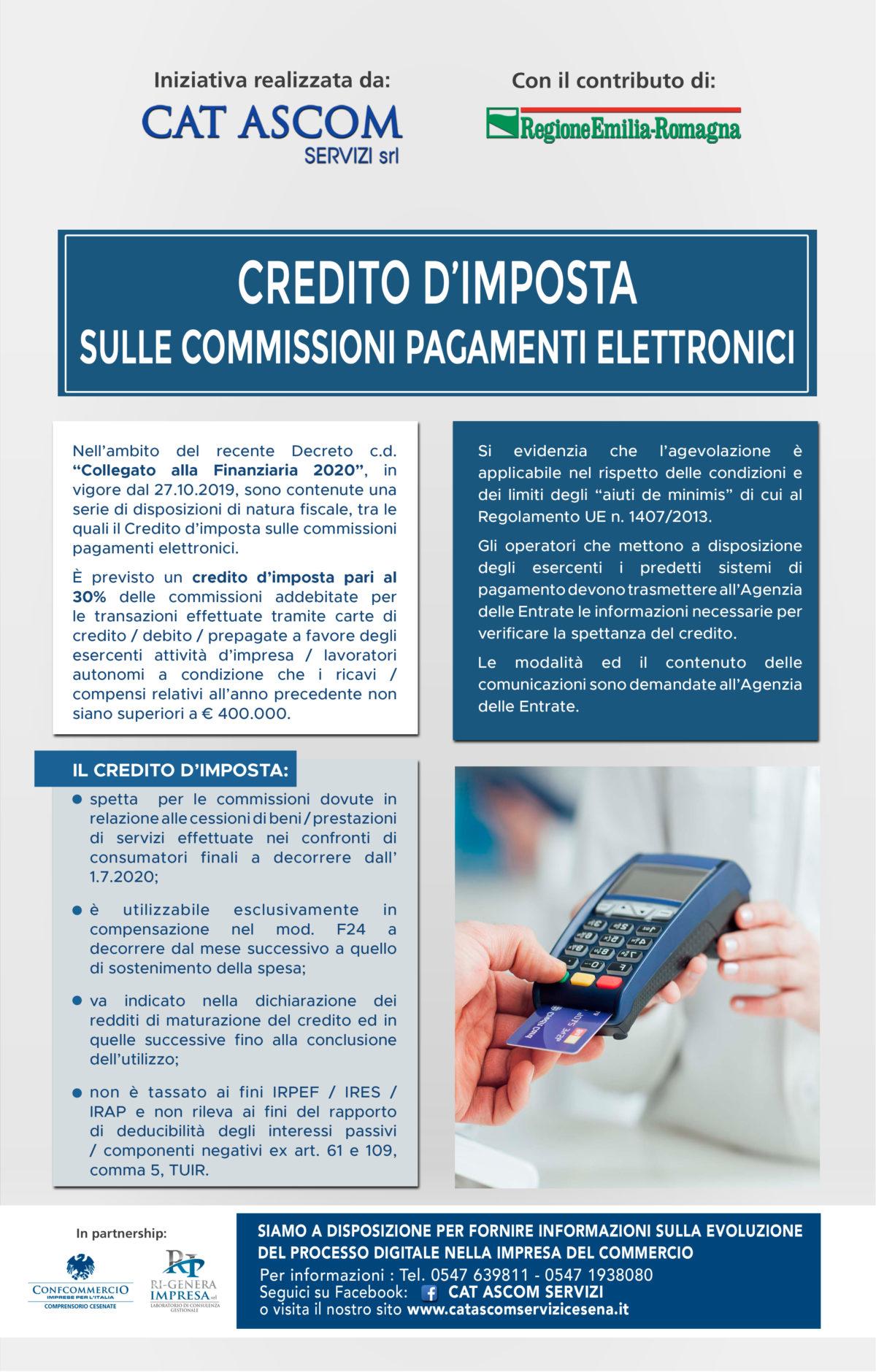CREDITO D'IMPOSTA  SULLE COMMISSIONI PAGAMENTI ELETTRONICI